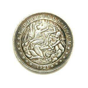 HOBO-NICKELS-SOUVENIR-DOLLAR-1921-USA-EXONUMIA-SILVERED-COIN-TOKEN