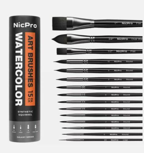 Nicpro 15 PCS Professional Watercolor Paint Brushes Set