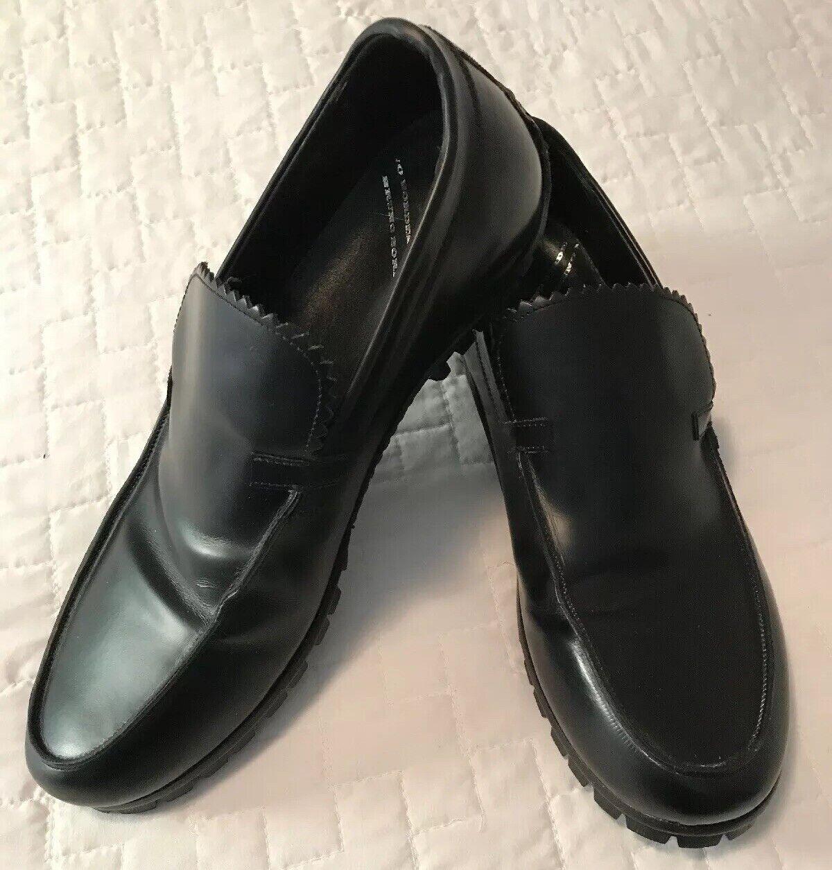 New Bruno Bordese Black Leather Driving Mocassin shoes Vibram Sole Mens 9 Medium