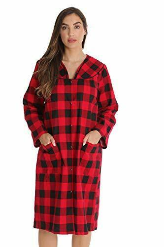 Women's Snap-Front House Coat Flannel Duster Robe with Pockets