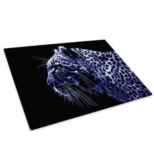 Blue Cheetah Abstract Cat Glass Chopping Board Kitchen Worktop Saver Protector