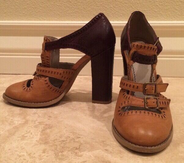 HINGE Nordstrom UniqueTan Burgundy Leather High Heel scarpe Straps Buckles 6.5M