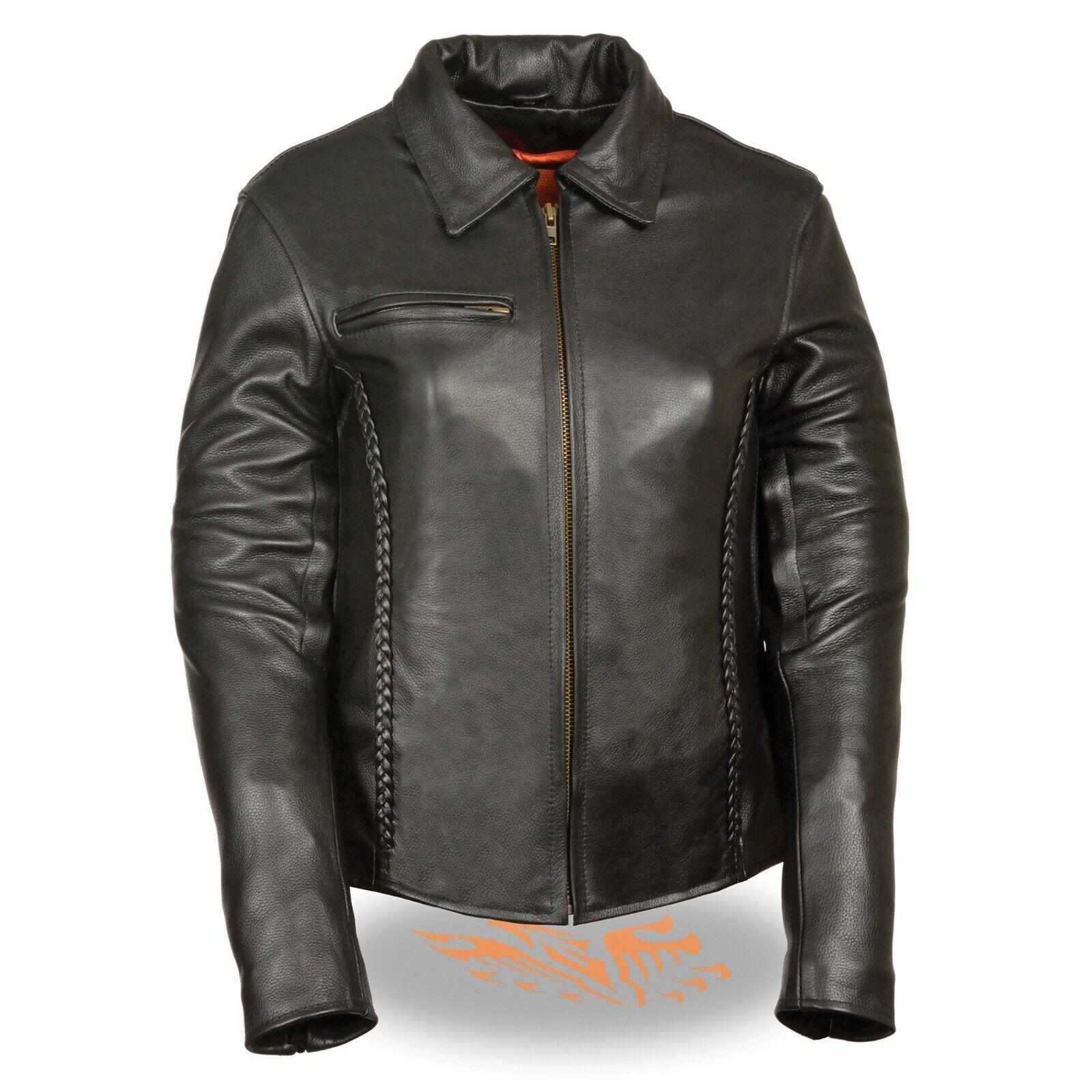 Milwaukee  leather Chaqueta señoras de cuero trenzado con cuello de camisa  SH7093  se descuenta