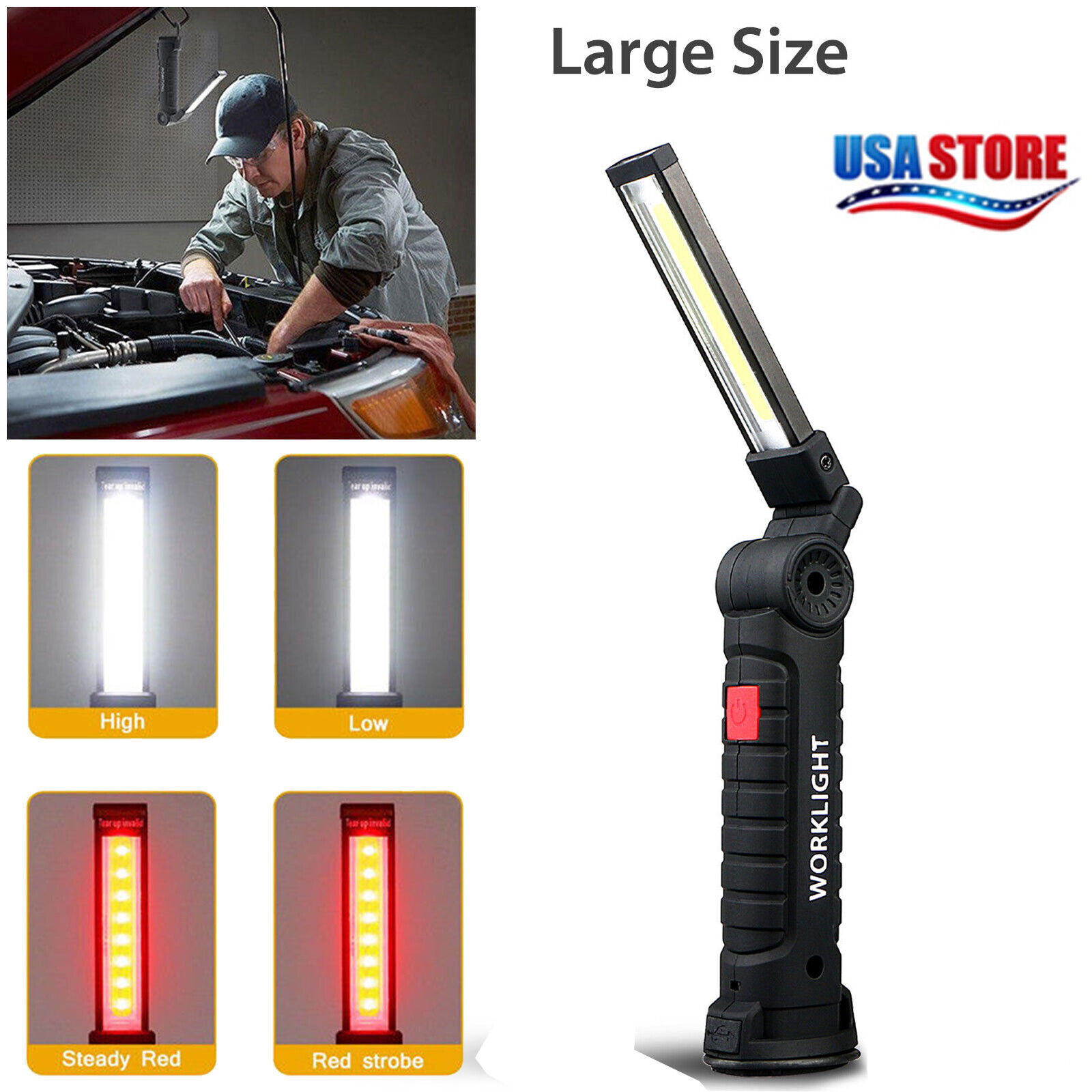 COB LED Work Light Magnet Flashlight with Hook Folding Torch Lamp Rechargeable