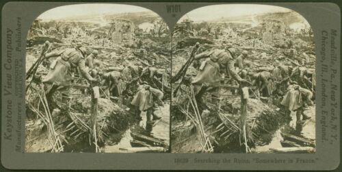 "Searching the Ruins, ""Somewhere in France"" WW1 Keystone Stereoview"