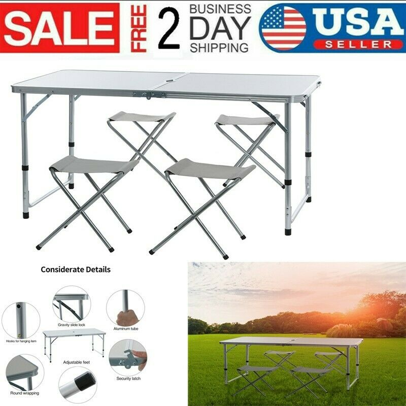 Outdoor Aluminum Picnic Dining Desk Portable 4-Person Foldable Camping Table US