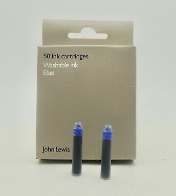 John Lewis box of 50 x 2 BLUE INK Fountain Pen Ink Cartridges x 100