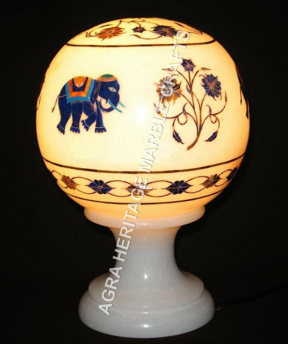 8  White Marble Decorative Lamp Elephant Floral Inlay Arts Hallway Decor H3402