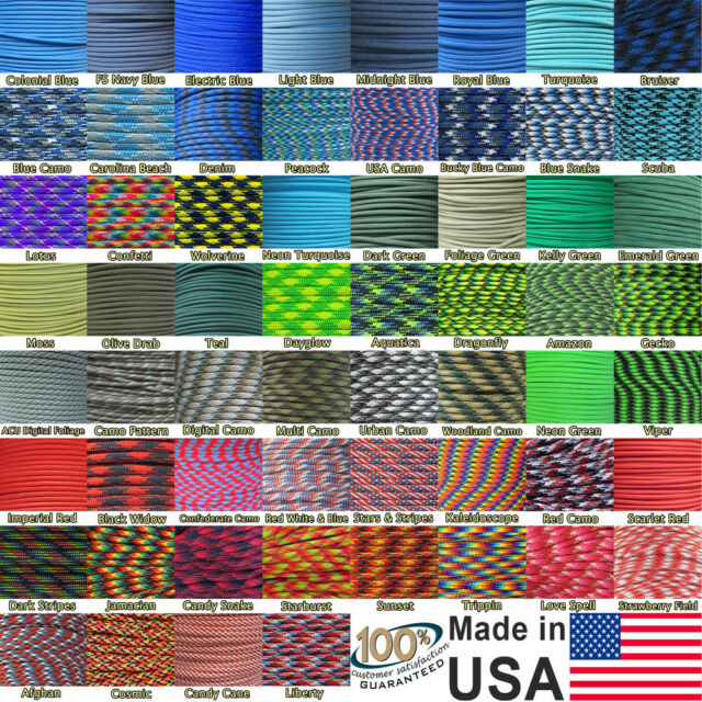550 Paracord Mil Spec Nylon Type III 7 strand cord Blue Green Red 100 feet