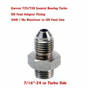 Garrett-T25-T28-Journal-Bearing-Turbo-oil-Feed-4AN-Adapter-Fitting-NO-RESTRICTOR