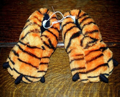 Tiger Paw Cat Plush Toddler Youth Fuzzy Slippers House Shoes Auburn LSU Clemson