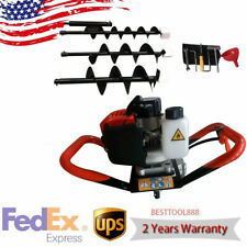 23hp Gas Powered Earth Auger Post Hole Digger Borer Fence Ground 3 Drill Bits
