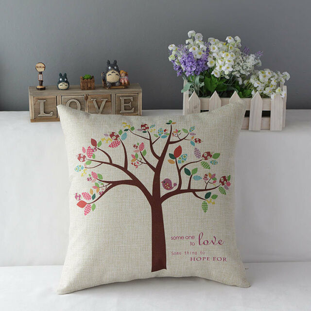 Life Tree Or Owls Tree Linen Decorative Cushion Cover Pillow Case Sofa Bed Gift