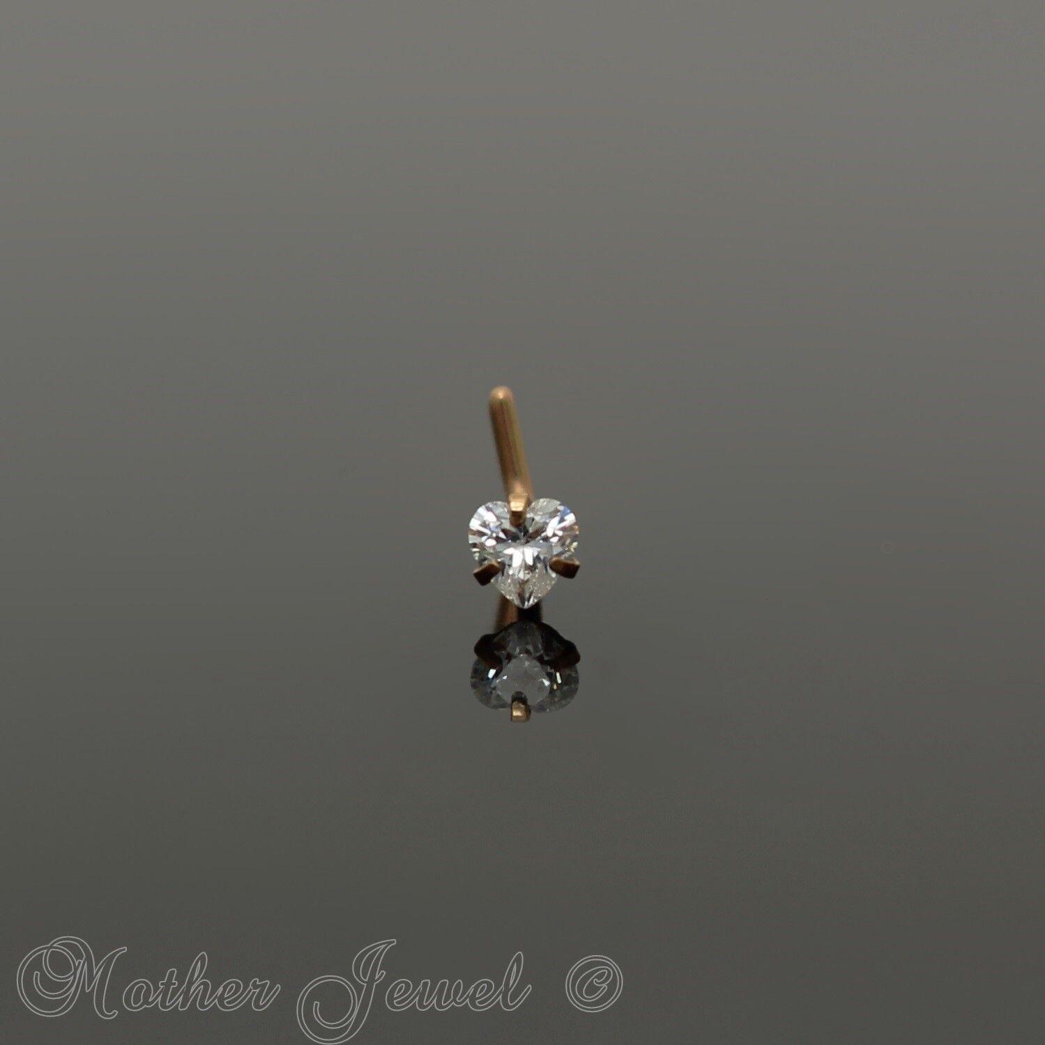 18g 14k Rose Gold Ip 3mm Simulated Diamond Heart L Shaped Bent