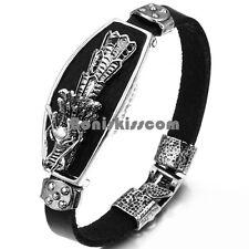 Silver Tone Vintage Dragon Head Black Leather Wristband Men's Bracelet
