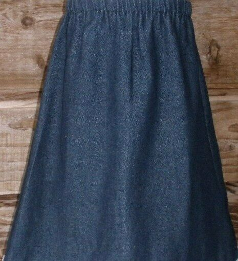 Ladies S, M, L, XL, 1X, 2X, 3X long A-line skirt navy blue jean denim modest