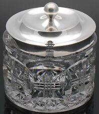 STERLING SILVER & GLASS JAM / HONEY / PRESERVE POT - BIRMINGHAM 1910