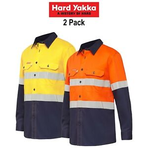 Mens-Hard-Yakka-Koolgear-Long-Sleeve-Work-Shirt-2PK-Hi-Vis-Taped-Summer-Y07740