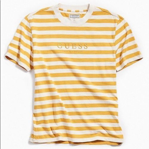 Guess Originals Yellow gold Striped Tee Size L Large SEALED