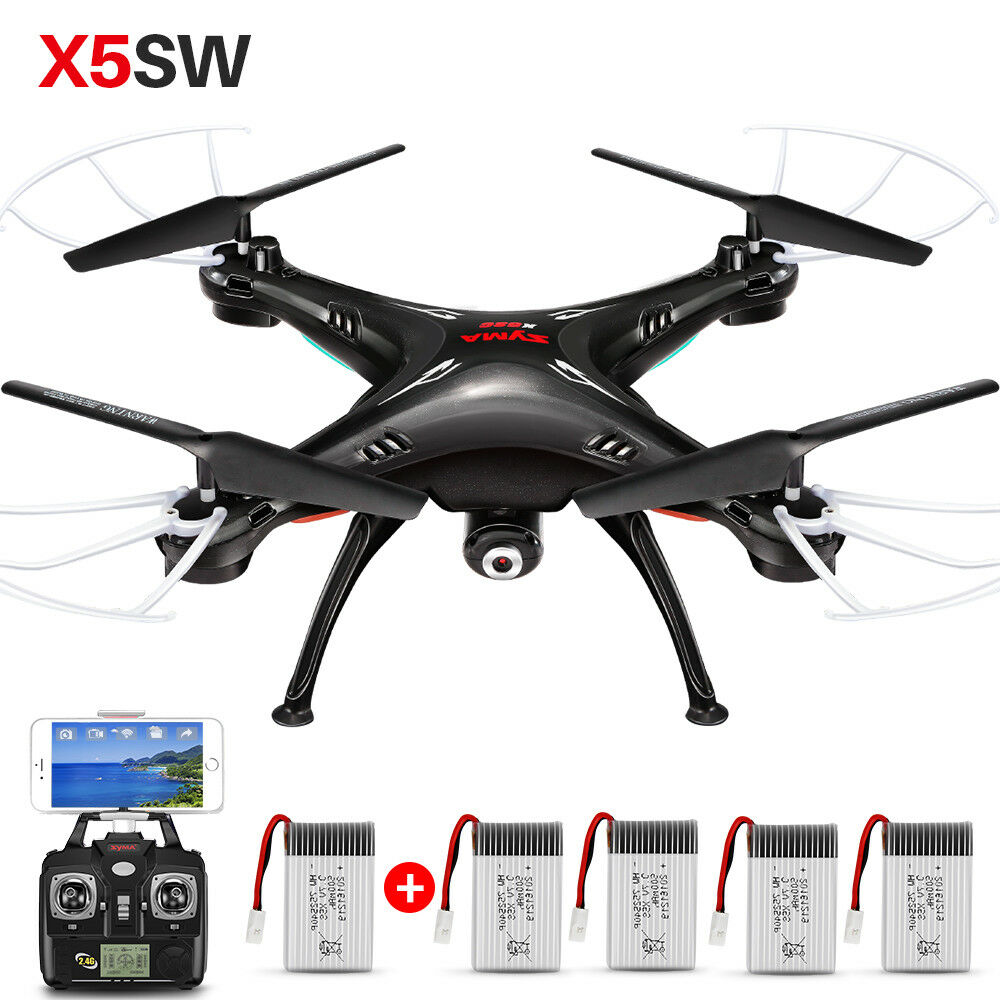 5Battery RC Drones SYMA X5SW FPV Wifi Camera 2.4G 4CH Headless Mode Easy Control
