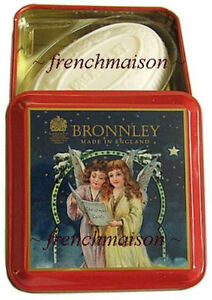 BRONNLEY-English-ANGELS-Christmas-Carols-Rare-Red-Gift-Tin-SPICED-GINGER-SOAP
