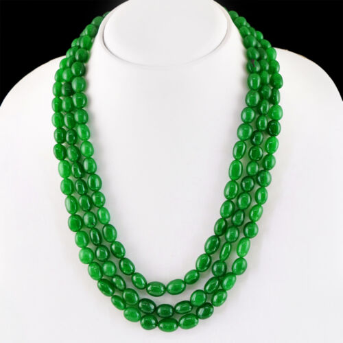 RARE 588.50 CTS EARTH MINED GREEN EMERALD 3 LINE OVAL SHAPE BEADS NECKLACE RS