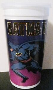 LOT OF 5 TACO BELL BATMAN PLASTIC CUP / GLASS FROM 1989 & ORIGINAL LID VINTAGE