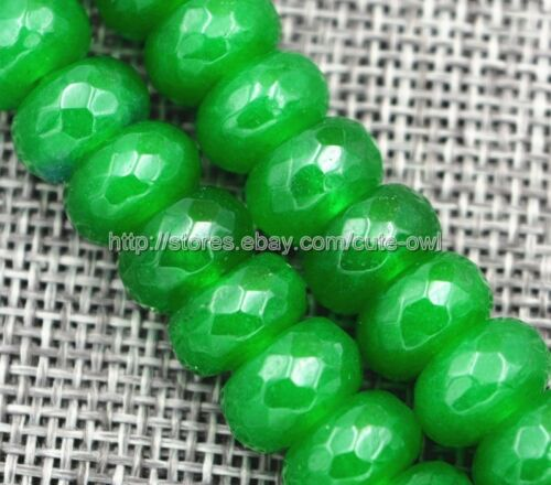 "New 5x8mm Green Emerald Gemstone Faceted Roundel Loose Beads Strand 15/"" AAA"