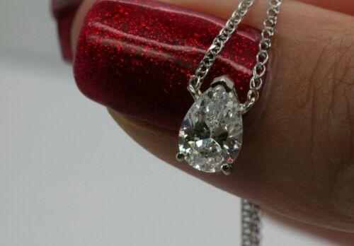 """1 ct solitaire collier pendentif et 18/"""" Chaîne 14k solide or blanc en forme de poire"""