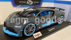 1-18-Maisto-escala-Bugatti-Divo-Gris-Azul-Diecast-Modelo-Coche
