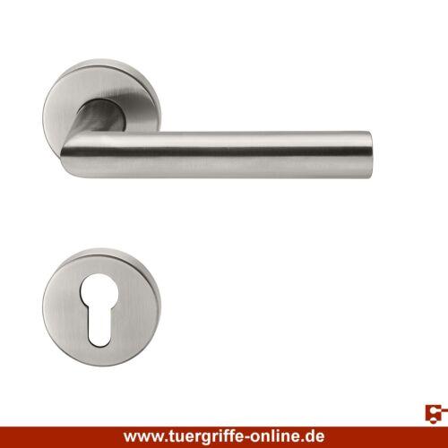 Hermat Türdrücker L-Form PZ Basic 02 Edelstahl matt Türgriff Drückergarnitur