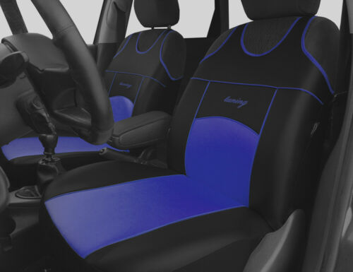 2 BLUE FRONT ECO LEATHER SEAT COVERS PROTECTORS FOR MITSUBISHI PAJERO