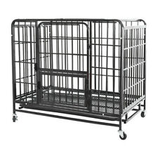 37in Pet Dog Cage Heavy Duty Strong Metal Wire Crate Kennel Playpen for Training