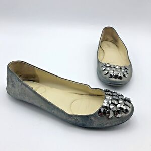 Enzo-Angiolini-Women-Gray-Shiny-Studded-Ballet-Flat-Shoe-Size-6-5M-Pre-Owned