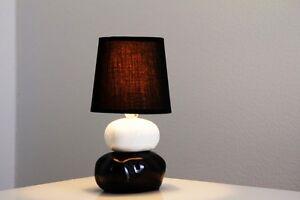 Dettagli su Bajour lampada da tavolo da comodino ceramica tessuto bianco  nero design 115035