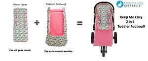 Keep-Me-Cosy-Pram-Liner-Footmuff-2-in-1-Set-Toddler-Universal-Flamingo
