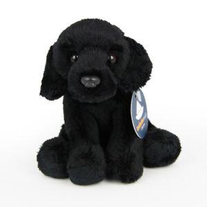Stofftier-schwarzer-Labrador-sitzend-Hund-Plueschtier-H-ca-11-cm