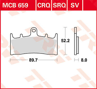 Plaquettes de frein Avant TRW Lucas MCB659SV Kawasaki ZRX 1100 ZRT10C 96-00