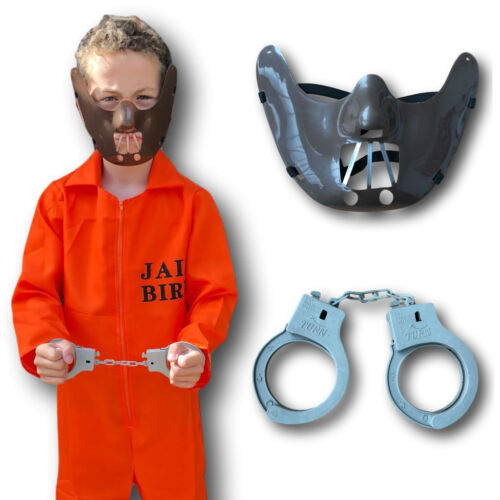 Orange County Jail Boiler Jump Suit Prison Convict Boys Kids Fancy Dress Costume