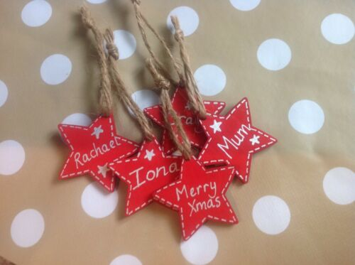 5 x Personalised Hand Made Wooden Red Star Gift Tag Christmas Tree Decoration