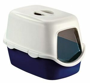 Image Is Loading Blue Large Cat Litter Tray Hooded Toilet Box