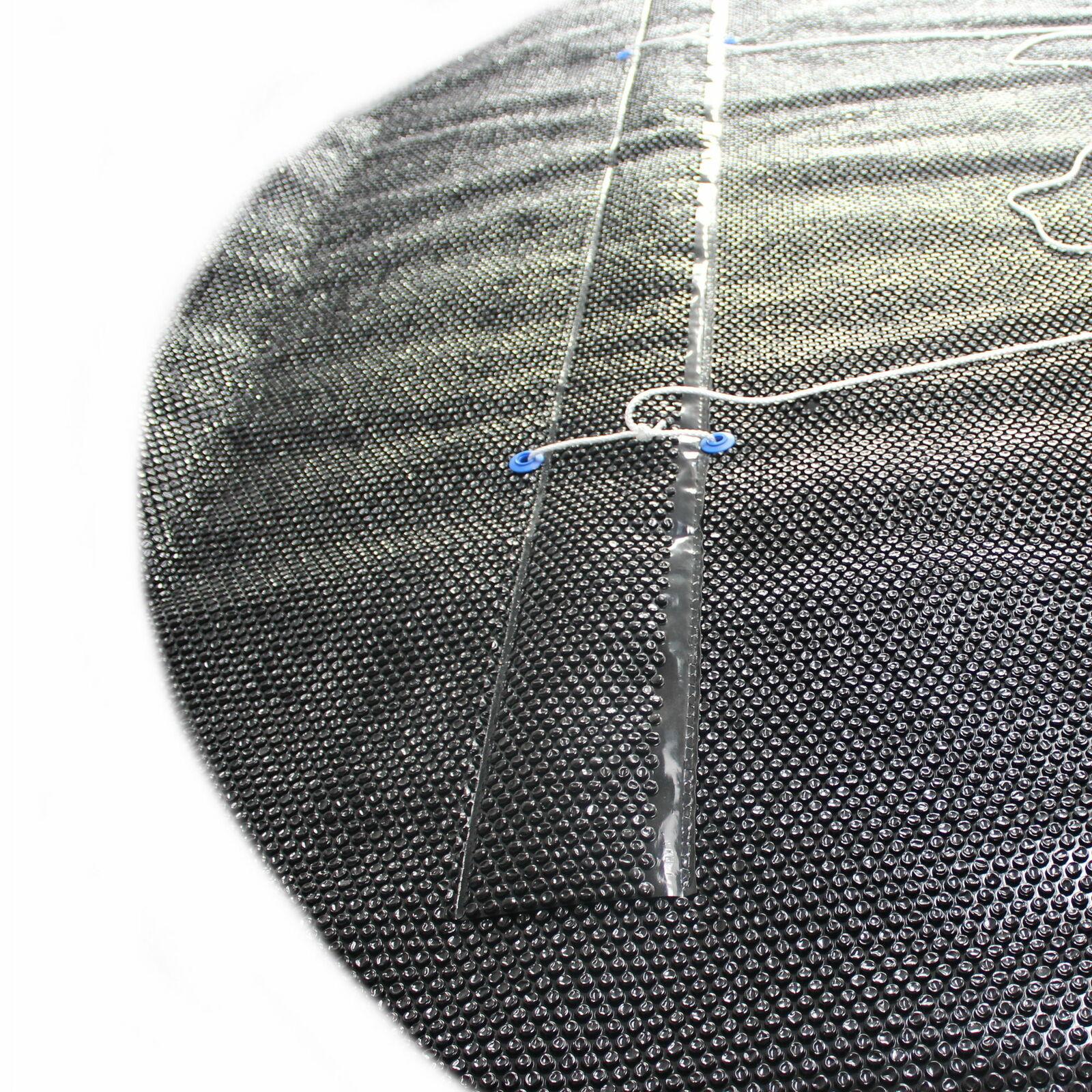 Solarfolie schwarz 400my mit Zugschlaufe, Ösen und Leine Ovalform Solarfolie