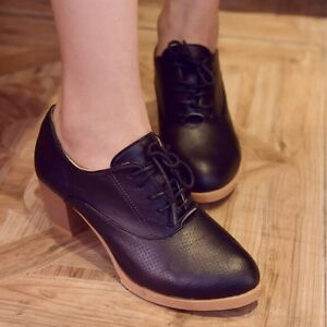 Women-Casual-Lace-Up-Chunky-Block-Heel-Hot-Walking-Shoes-Pumps-Brogues-Oxfords