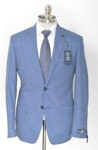 NWT PSYCHO BUNNY by Robert Godley Blue Check Wool Silk Sport Coat 48 R (EU 58)