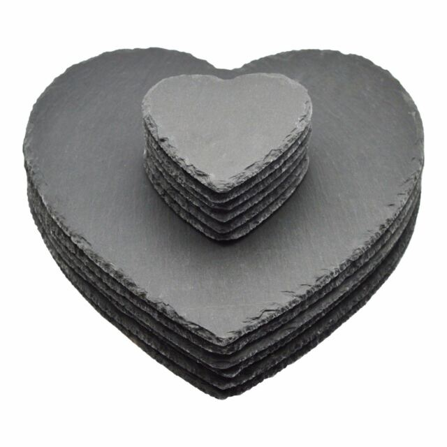 Heart Shaped 100 Natural Slate Placemats Amp Table Coasters