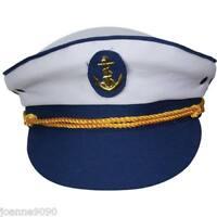 LADIES MENS BLUE MARINE SAILOR SEA ANCHOR FANCY DRESS CAP ACCESSORY CAPTAIN HAT