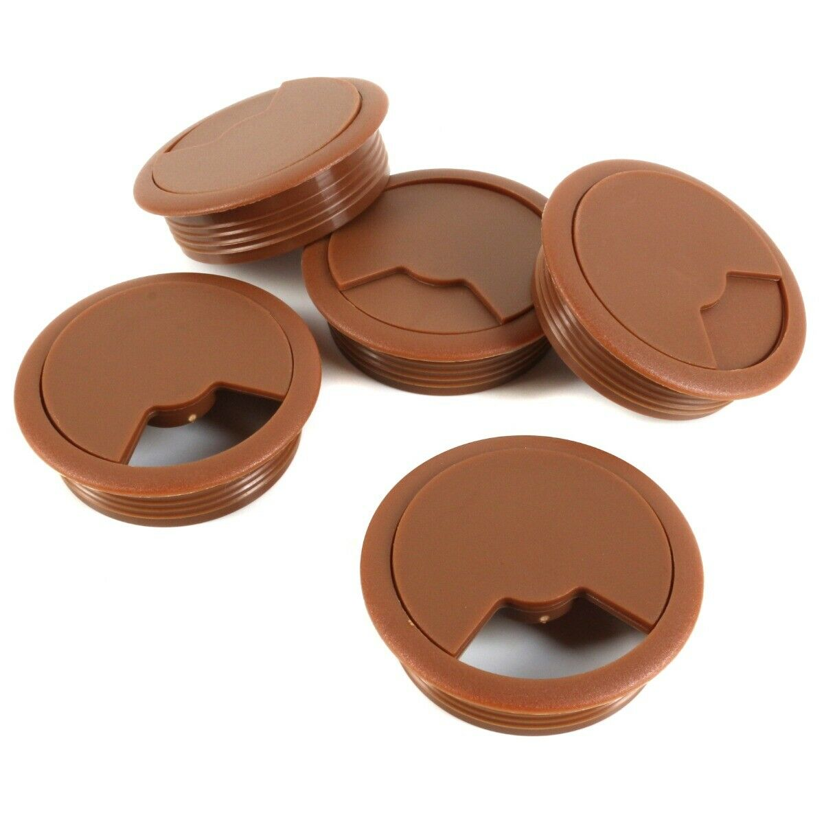 5x DESK GROMMETS 60mm Brown Table Office Computer PC TV Unit Wire Cable Outlet