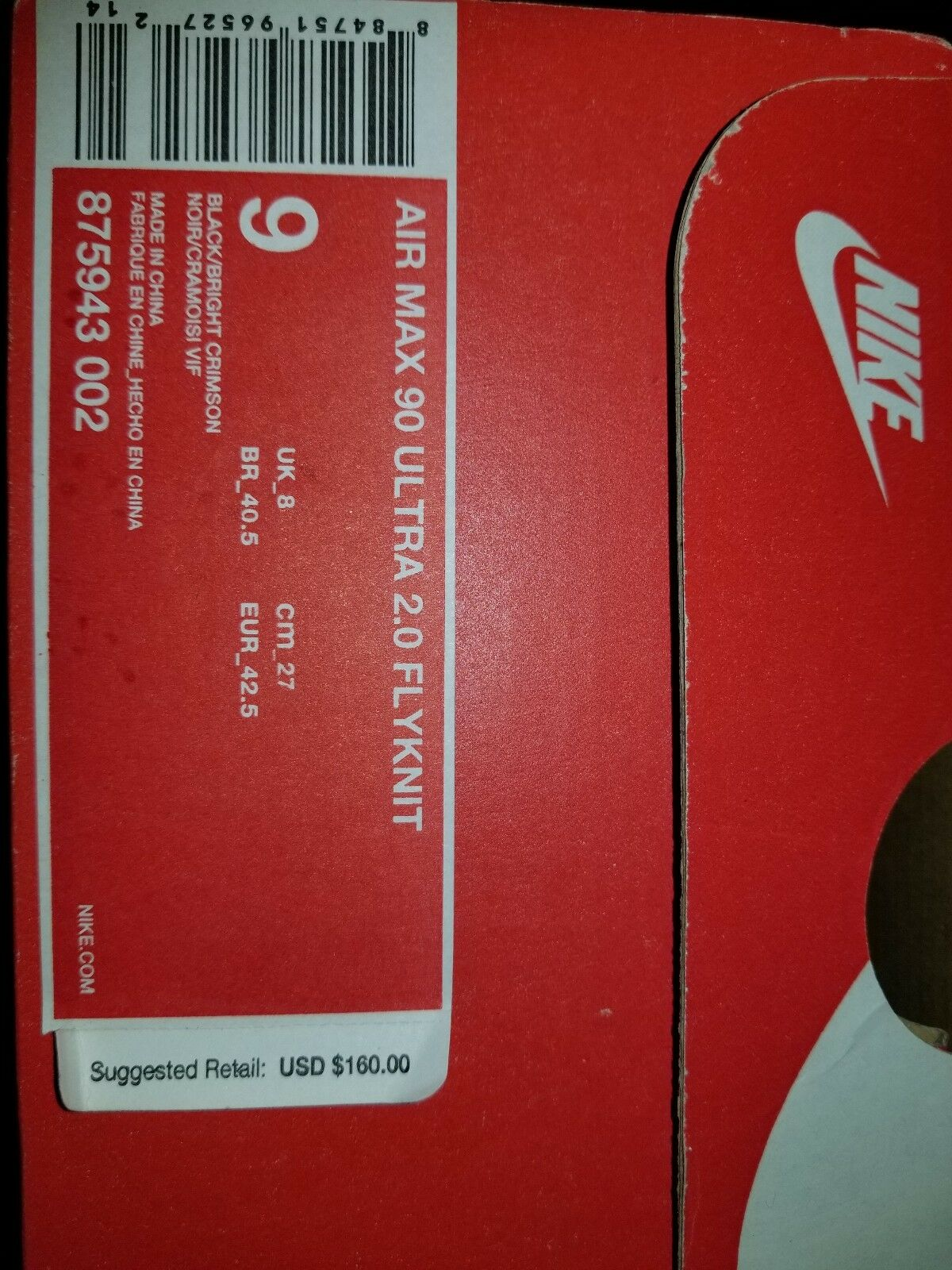 Details about NEW Nike Air Max 90 Ultra 2.0 Flyknit Men's Size 11.5 Oreo Black Grey Mens Run