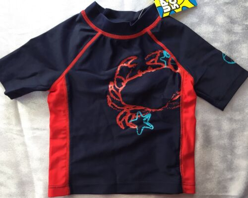 Boys 2T Boutique Flapdoodles Crab Swim Shirt Rash Guard NEW NWT Navy Red S//S