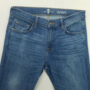 7 FOR ALL MANKIND Homme Jeans W32 L35 Bleu Slim Straight